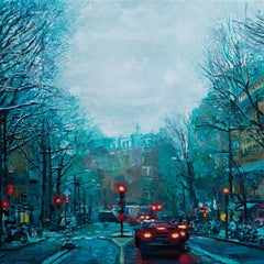 Boulevard Barbes, A Winter Morning in Paris, Original Painting