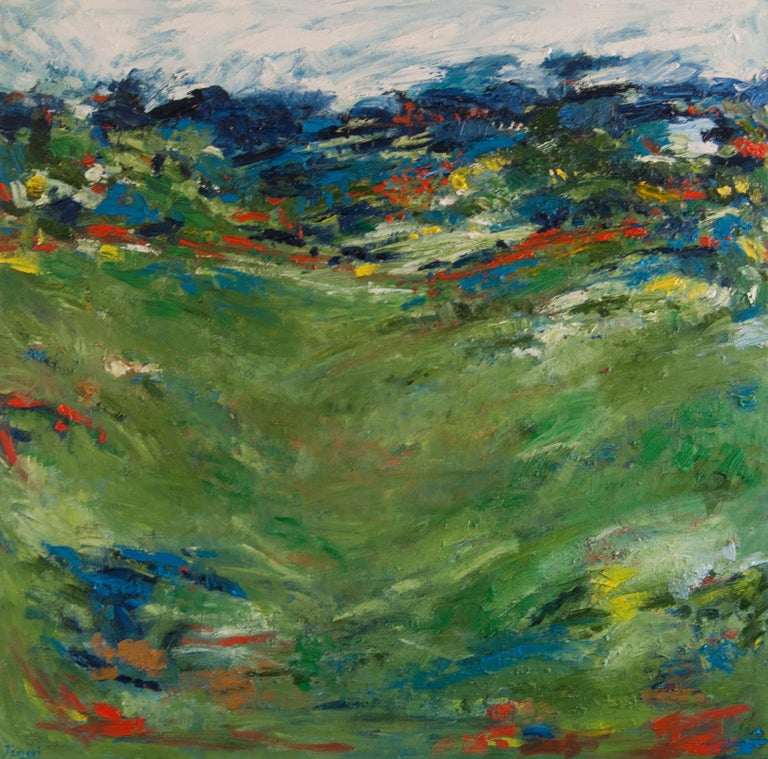 Kajal Zaveri Abstract Painting - Summer Green, Abstract Oil Painting