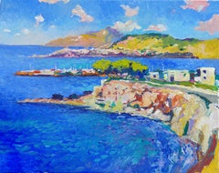 The Blue of the Aegean Sea, Greece, Oil Painting