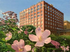 High Line View with Swamp Rose Mallow, Oil Painting