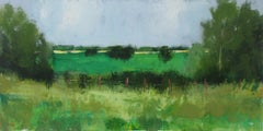 Fence and Fields, Ohio, Original Painting