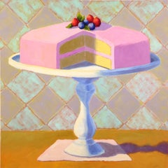 Raspberry Layer Cake, Oil Painting
