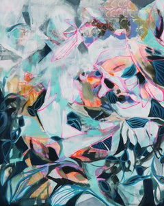 Teal Petals, Abstract Painting