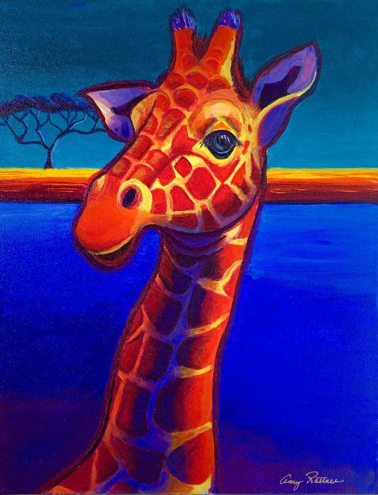 Amy Rattner Animal Painting - Giraffe in Blue, Original Painting