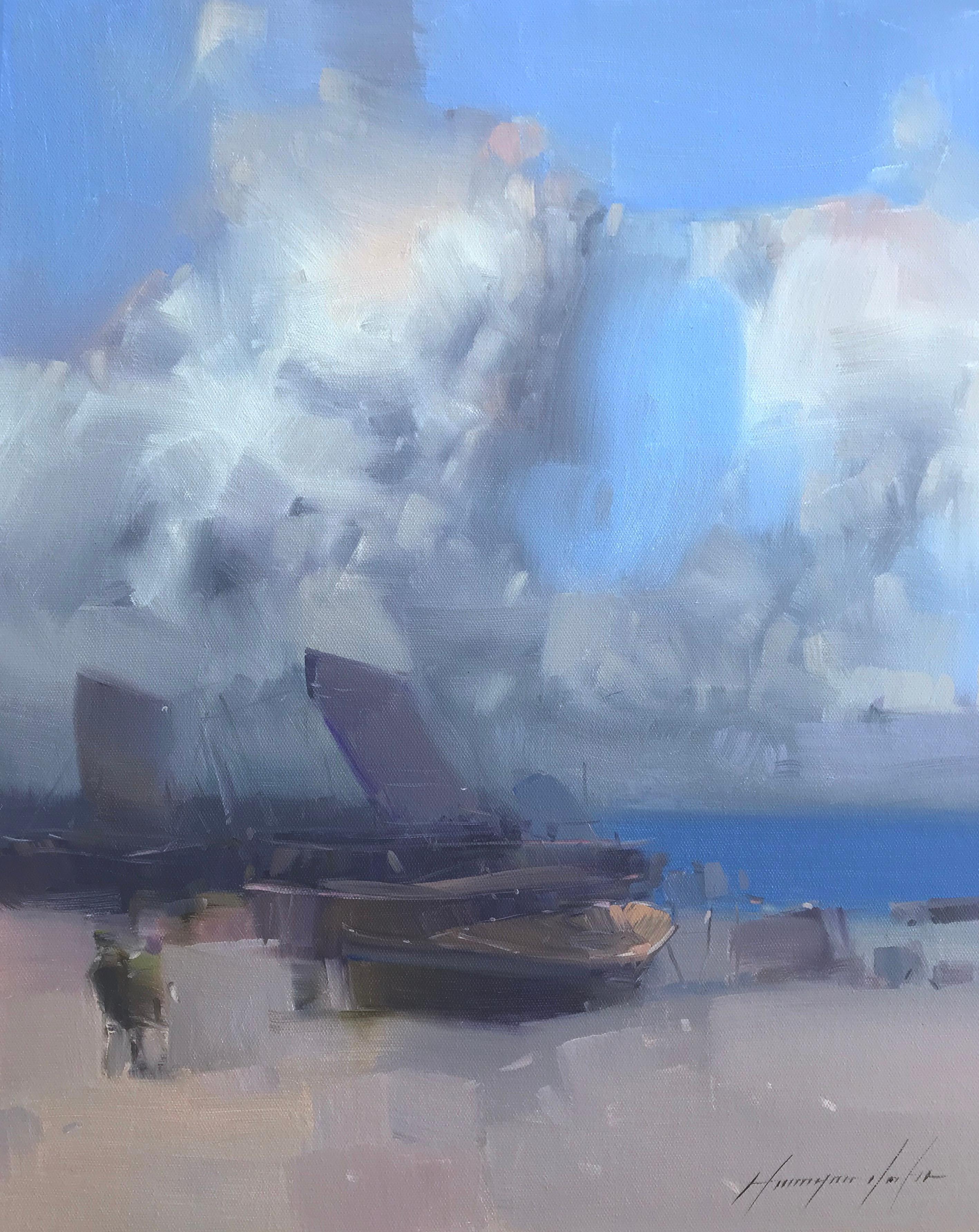 Cloudy Beach, Oil Painting