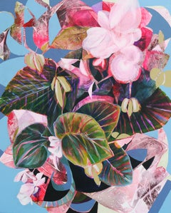 Carmine Begonia, Original Painting
