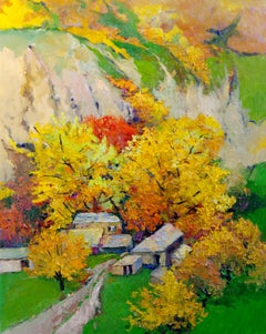 Fall Trees in the Canyon, Oil Painting