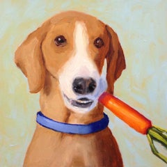 Hound with Carrot, Oil Painting
