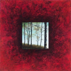 Red Pond Trees, Abstract Painting