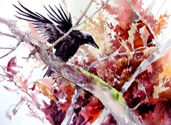 Flying Raven and the Fall, Original Painting