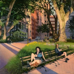 Washington Square Park - Summer Evening, Oil Painting