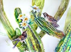 Cactus Wren and Saguaro Cactus, Original Painting