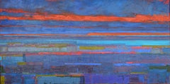 Ice Blue Lake and the Horizon, Abstract Oil Painting
