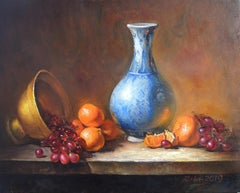 Blue Vase with Fruit, Oil Painting