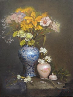 Flowers in a Blue Vase, Oil Painting