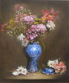 Pink Flowers in a Blue and White Vase, Oil Painting