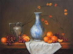 Blue and White Vase with Oranges, Oil Painting