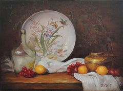 Chinese Painted Plate and Brass Pot, Oil Painting