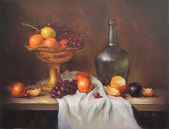 Copper Plate with Fruit, Oil Painting