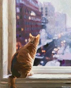 Cat Sitting, Original Painting