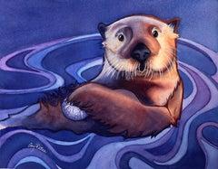 Sea Otter Snack, Original Painting