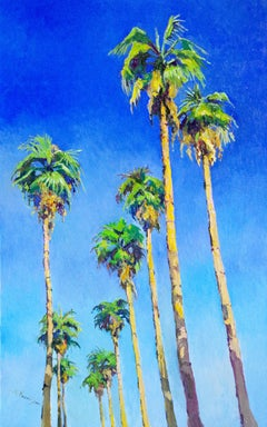 Tall Californian Palm Trees on the Road, Midday Sunlight, Oil Painting