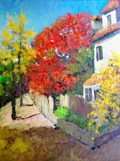 Fall in Virginia, Landscape with Red Tree, Oil Painting