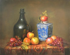 Blue White Vase, Apples and Grapes, Oil Painting