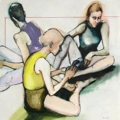 Putting on Pointe Shoes, Oil Painting