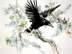 Flying Raven in the Woods, Original Painting