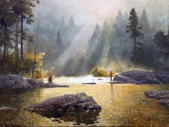 Fly Fishing, Oil Painting