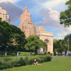 Washington Square Park - Summer Afternoon, Oil Painting