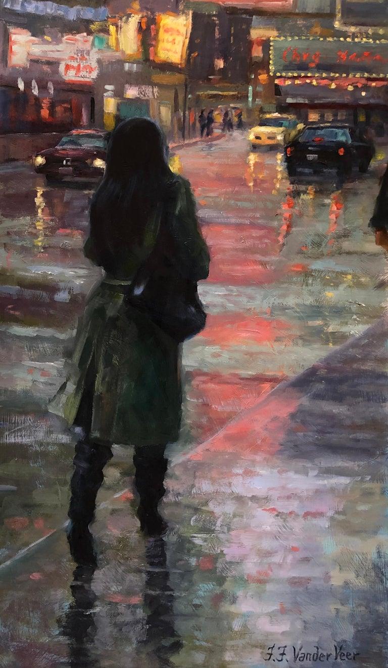 Faye Vander Veer Figurative Painting - November Rain, Oil Painting