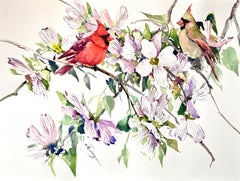 Cardinals and Dogwood, Original Painting