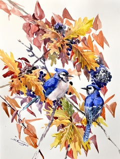 Blue Jays in the Fall, Original Painting