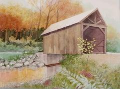 Covered Bridge Over White River, Original Painting
