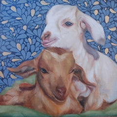 Baby Goats, Oil Painting