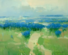 Field of Blue Flowers, Oil Painting