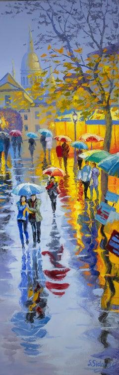 Rain in Paris Montmartre, Oil Painting