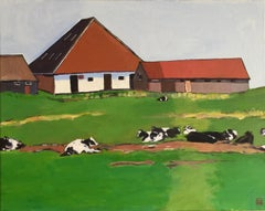 Farmhouse with Cows, Original Painting