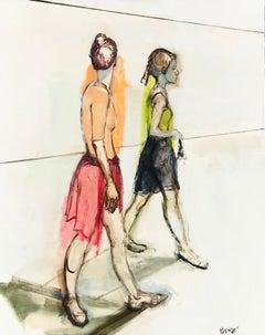 Ballerinas Walking, Oil Painting