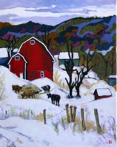 Winter Farm, Original Painting