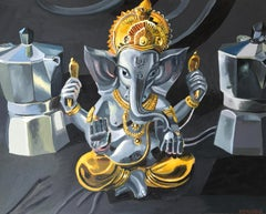 Ganesha Enthroned, Oil Painting