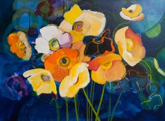 Poppies in Blue, Abstract Painting