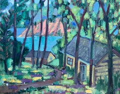 Cabins by the Lake, Oil Painting