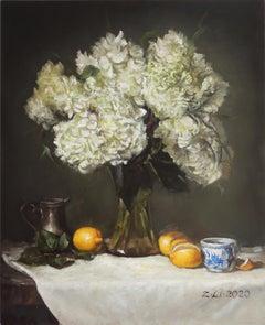 White Hydrangeas in Vase with Lemons, Oil Painting