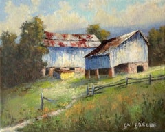 Blue Barns, Oil Painting
