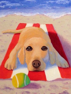 Lab at the Beach, Oil Painting
