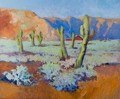 Arizona Desert Landscape, Cactuses, Oil Painting