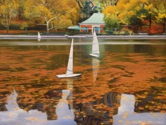 Three Boats on Conservatory Water, Oil Painting
